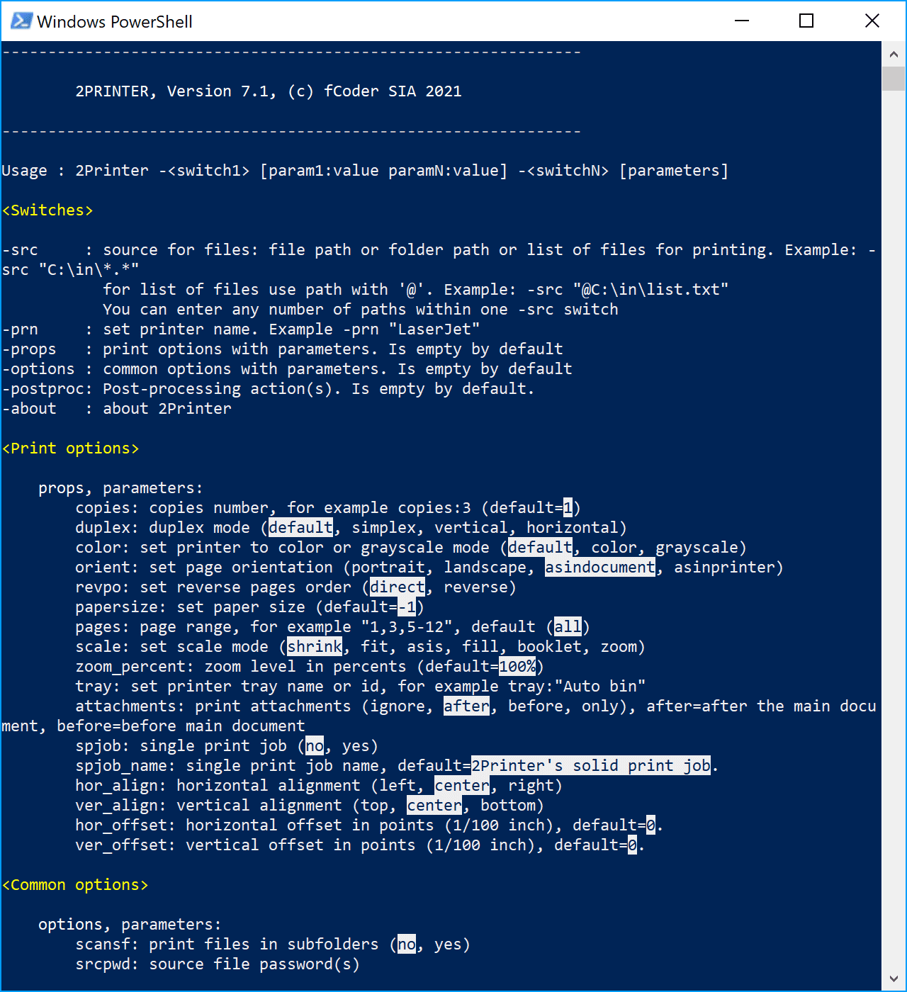 2Printer – command line tool for printing documents and images
