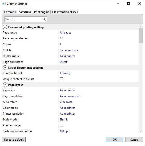 Advanced printing settings of 2Printer