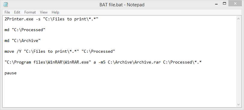Our batch file (.bat)