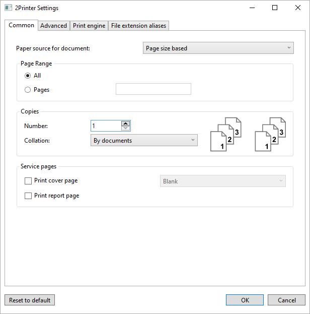 Common printing settings of 2Printer