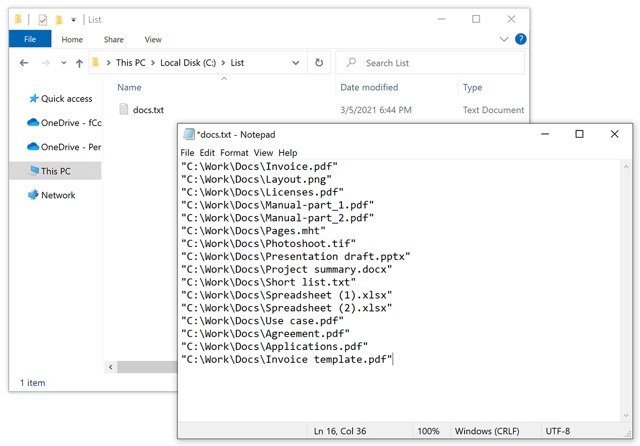 Plain text file containing file paths