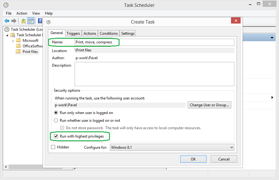 Name your Task in Task Scheduler