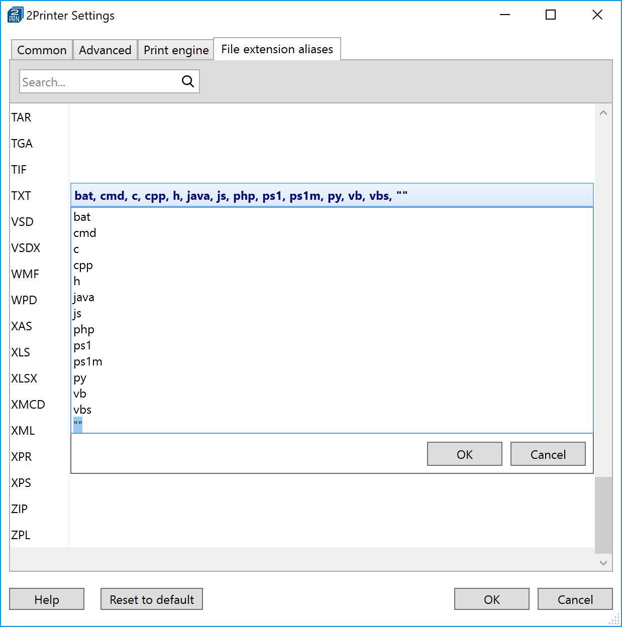 Set or change file associations in 2Printer
