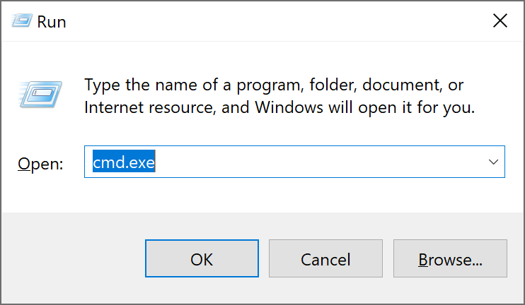Open Run Command window